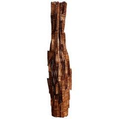 Squeeze Lamp Wood Floor Lamp Sculpture in Teak