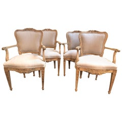 Set of 4 18th Century French Armchairs Made of Bleached Walnut