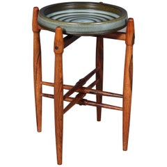 Danish Cabinetmaker, sidetable with Knabstrup bowl. Rosewood.