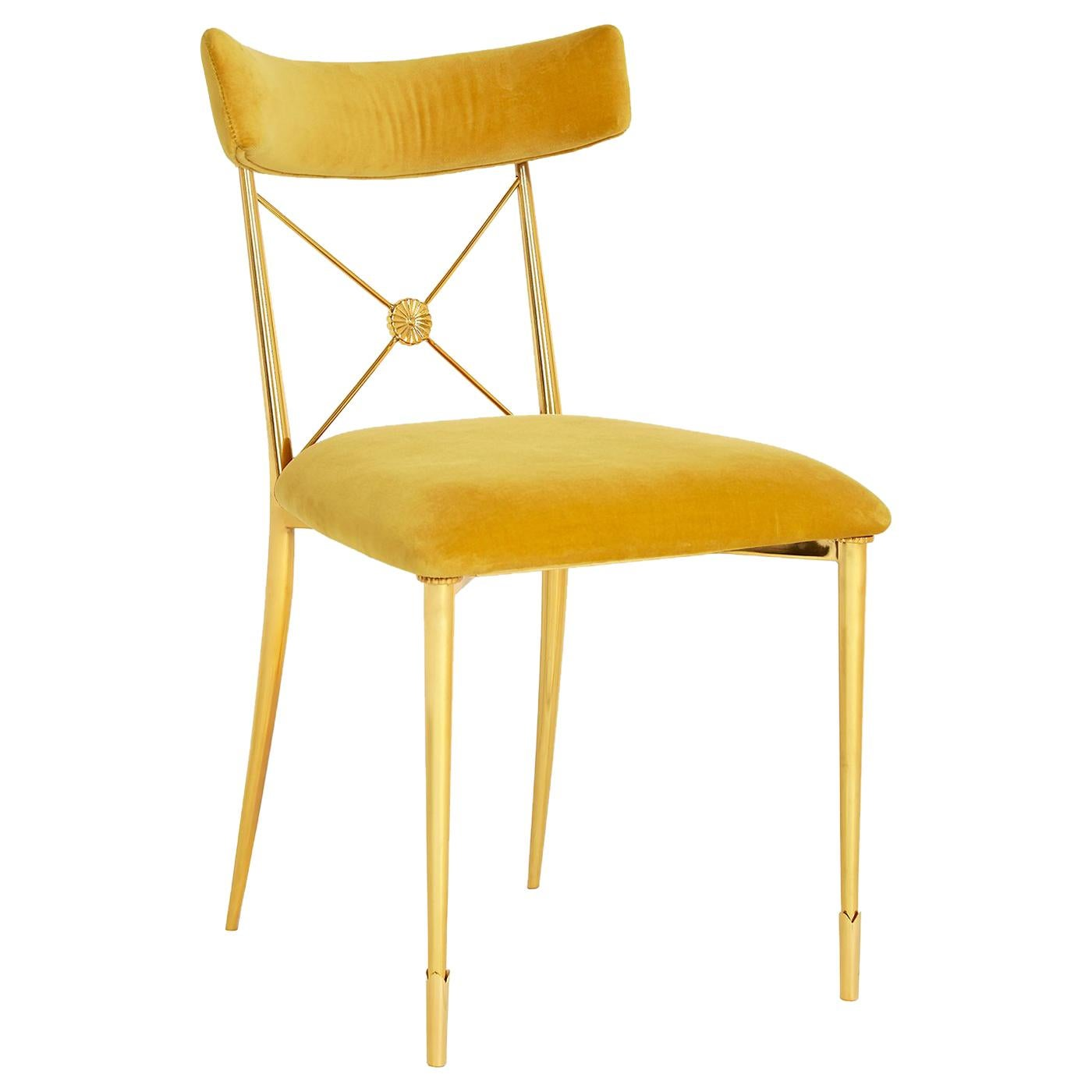 Rider Gold Velvet and Brass Dining Chair