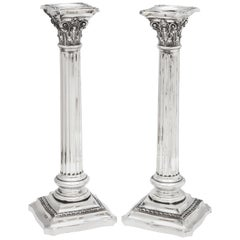 Pair of Tall Sterling Silver Neoclassical Corinthian Column-Form Candlesticks