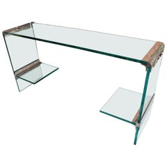 Vintage Glass and Chrome Console Table