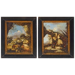 17th Century Pair of Baroque paintings in the style of Salvator Rosa