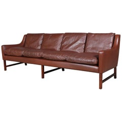 Frederik Kayser Four-Seat Sofa, Rosewood and Leather, Norway