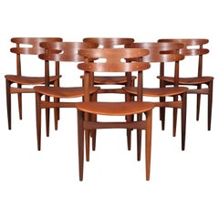 Johannes Andersen Six Dining Chairs, Model 178 , Teak and Leather Upholstery