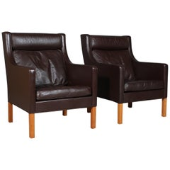 Børge & Peter Mogensen Pair of Lounge Chairs in brown Leather, Model 2431
