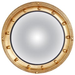 English Regency Style Round Convex Bullseye Mirror