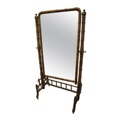 19th Century French Faux Bamboo Cheval Mirror