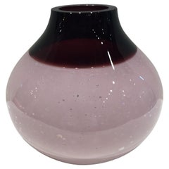 Alfredo Barbini Burgundy Wine and Pink Colored Venetian Murano Vase