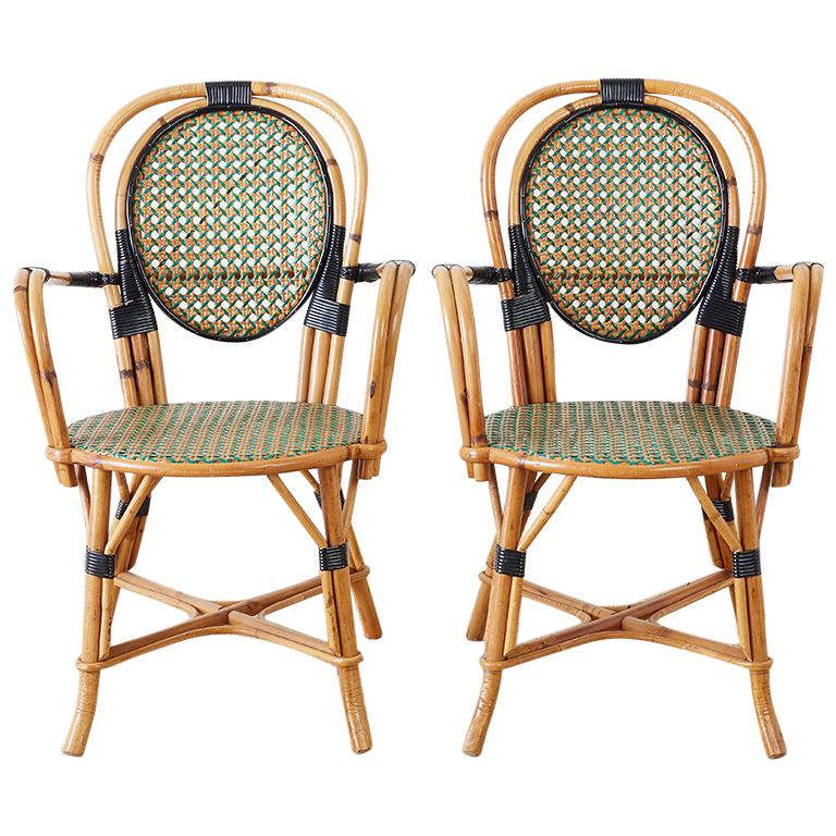 Pair Of French Maison Gatti Rattan Cafe Bistro Chairs For