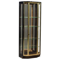 Henredon Ebonized and Brass Curio Cabinet