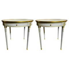 Pair Large Hollywood Regency Painted Bronze Mounted Bouiliotte Center End Tables
