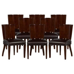 Set of 8 Rich Brown Lacquered Leather Dining Chairs