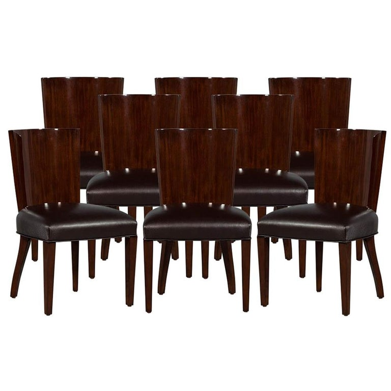 Admirable Set Of 8 Rich Brown Lacquered Leather Dining Chairs Creativecarmelina Interior Chair Design Creativecarmelinacom