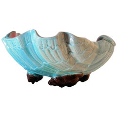 English Majolica Large Clam Shell Bowl, circa 1885