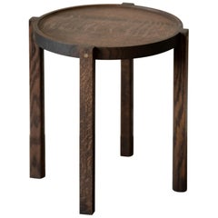 Round Wood Side Table Black Color White Oak with Brass Details
