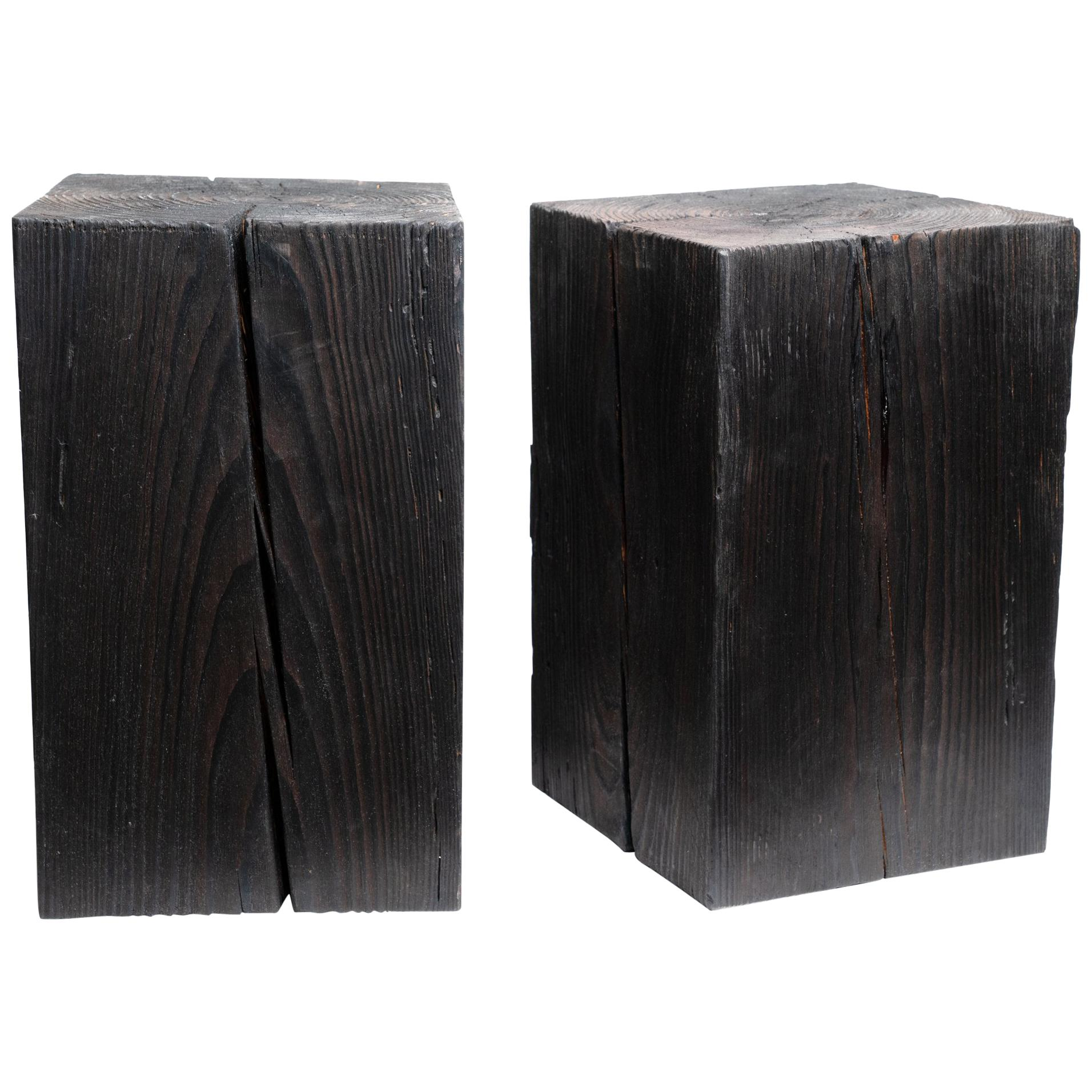 """Asian Style Black Solid Wood Cube Side Table Sho Shugi Ban (12"""" x 12"""")"""