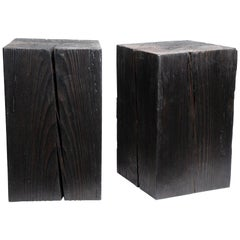 "Asian Style Black Solid Wood Cube Side Table Sho Shugi Ban (12"" x 12"")"