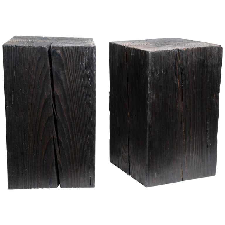 """Asian Style Black Solid Wood Cube Side Table Sho Shugi Ban (12"""" x 12"""") For Sale"""