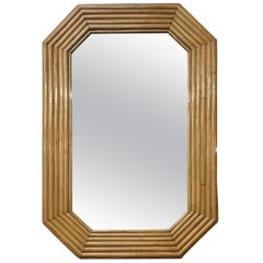 1940s Six-Strand Square Rattan Mirror