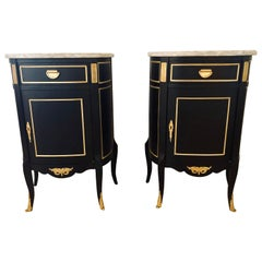 Hollywood Regency Ebony Marble-Top Louis XV Style Nightstand End Tables, Pair