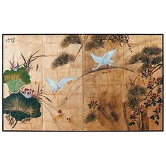 Japanese Four-Panel Gold Leaf Byobu Screen with Cranes