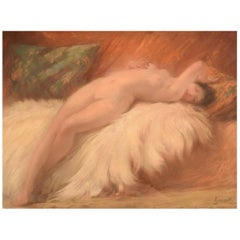 Naked Young Beauty on Lambskin, French Art Deco, Pastel