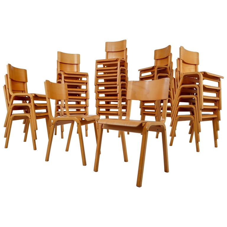 Set of 60 Scandinavian Modern Chairs Made from Bentwood and Plywood 1960s  For Sale