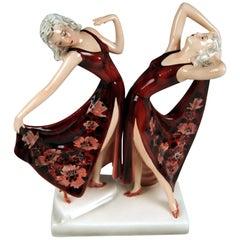 Goldscheider Vienna Schuster Dolly Twins Two Figurines Model 7868 by Dakon 1942