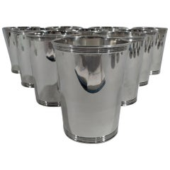 Set of 10 American Sterling Silver Mint Julep Cups by Manchester