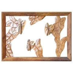 Large Hand Carved Koa Wood Anthurium Wall Art