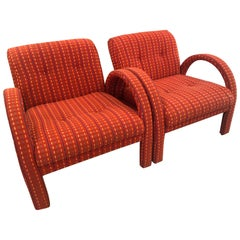 Vintage Hollywood Regency Pair Club Chairs Occasional Arched Armchairs