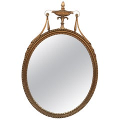 Giltwood English Adam Style Oval Wall Mirror