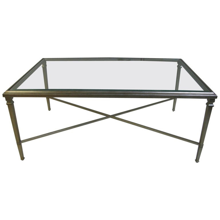 Neoclassical Louis XVI Gilt Metal Silver Leaf Cocktail Table For Sale