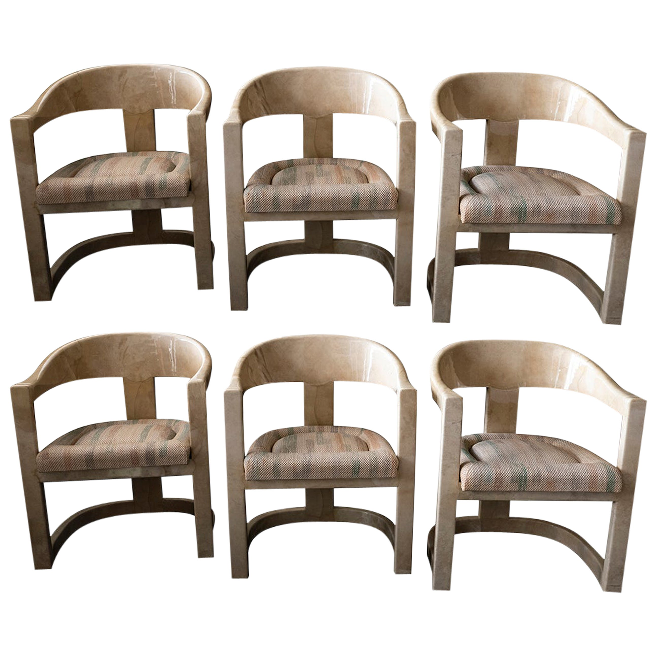 "Set of 6 American Modern Goatskin ""Onassis"" Chairs"