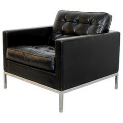 Mid-Century Modern Florence Knoll Chrome Cube Armchair Black Tufted Leather