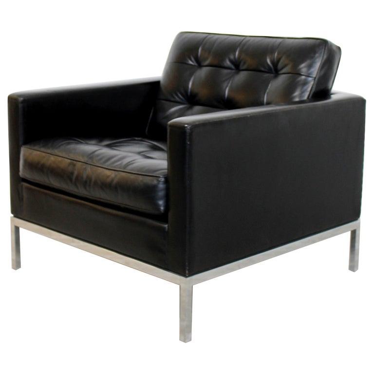 Mid Century Modern Florence Knoll Chrome Cube Armchair Black Tufted