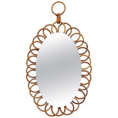 1960s French Riviera Rattan Flower Shaped Hanging Oval Mirror