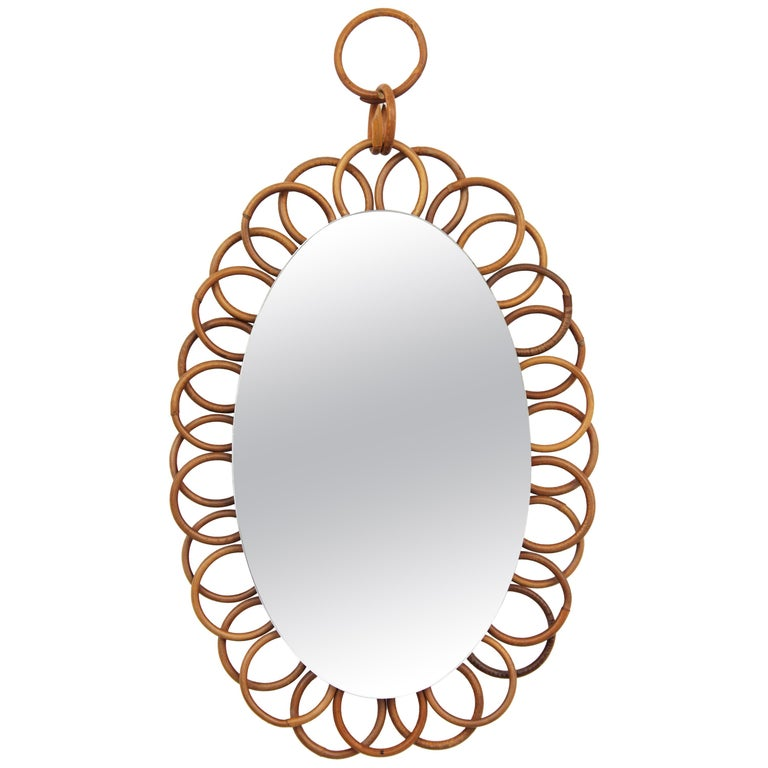 1960s French Riviera Rattan Flower Shaped Hanging Oval Mirror For Sale