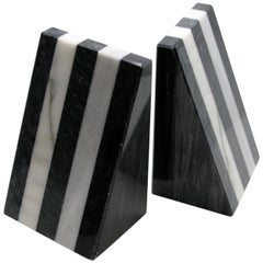 Italian 1980s Black and White Stripe Marble Bookends