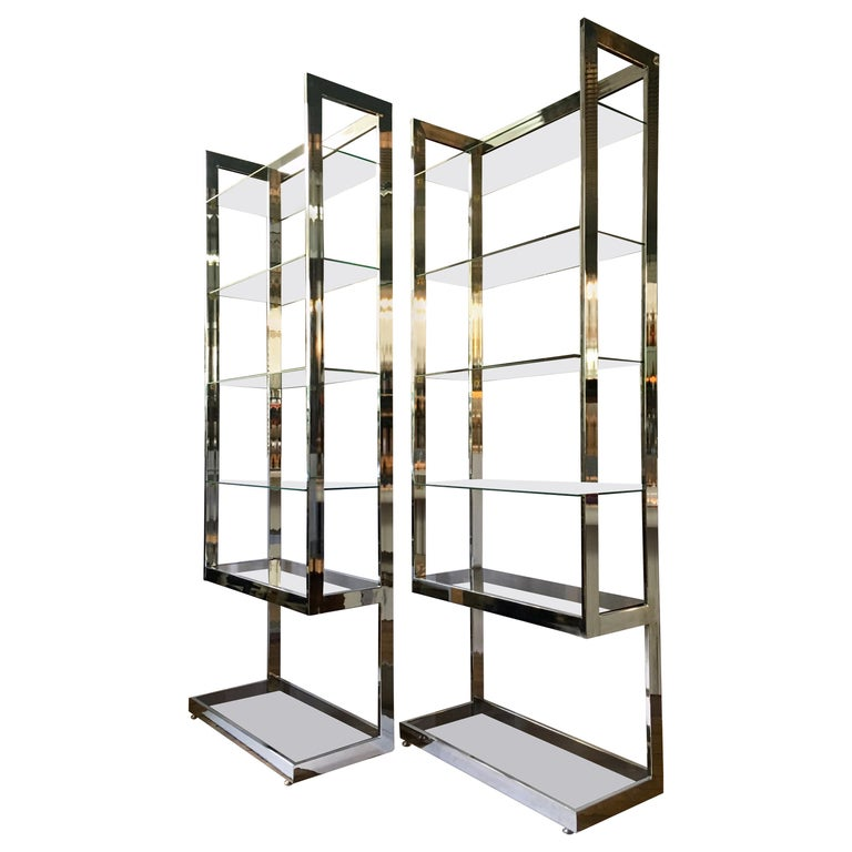 Mid-Century Modern Milo Baughman Style Chrome and Glass Etageres For Sale