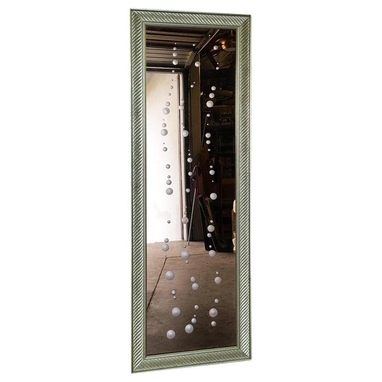 Regency Venetian Peach Gl Bubbles Floor Mirror Circa 1960