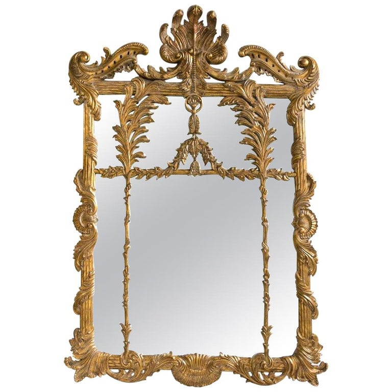 La Barge Italian Style Foliate Giltwood Wall, Console or over the Mantle Mirror For Sale