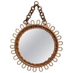 Italian Round Rattan Wall Mirror with Chain 'circa 1960s'