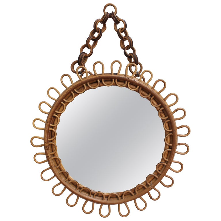 Italian Round Rattan Wall Mirror with Chain 'circa 1960s' For Sale
