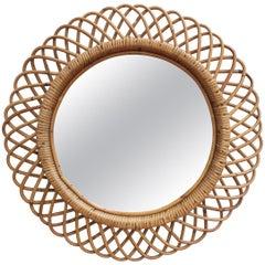 Vintage Italian Rattan Round Wall Mirror (circa 1960s)