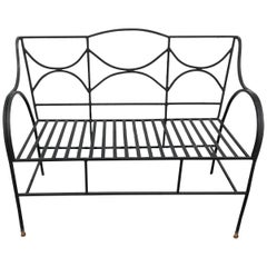 Sophisticated French Black Wrought Iron Neoclassical Patio Loveseat Bench