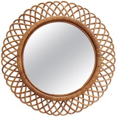 Vintage Italian Rattan Round Wall Mirror, 'circa 1960s'