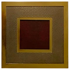 Wonderful Cartier Square Brass Snake Skin Picture Frame Made in Italy