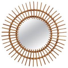 Midcentury French Rattan Sunburst Mirror 'circa 1960s', Large